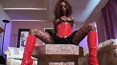 Wild black whore in fishnets Kelly Star slides upon dick of Devlin Weed