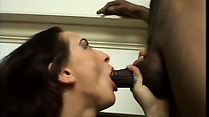 Serena drops to her knees and sends her lips pleasing a big black cock