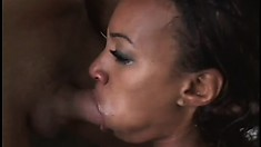 Hairy black babe drools while two cocks wreck her tight holes