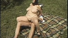 Old hungry slut is begging for a terrific outdoor banging from young guy