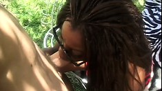 Cock-hungry Monique Moore gobbles down a dick before getting drilled