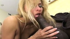 Trashy blonde MILF is desperate to ride this thick black cock