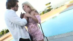 Rebecca Steel is outside toying, then gets a dick to deep throat and fuck her