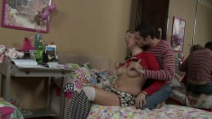 Alluring teen Gabriella teases a stud into dicking her holes