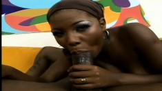 Pretty dark-skinned candy striper Ms. Simone is a talented cock-sucker