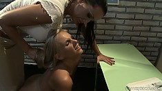She makes her student kneel at her feet and the rubs her ass