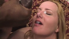 Gorgeous blondie with a thick body goes interracial in a threesome