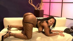 Alluring ebony lady with big natural boobs can't resist a black cock