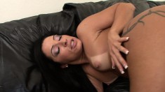 Sensuous Monica chokes on a large dick and takes it deep in her butt