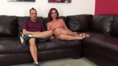 Ashlee chats it up on the couch before she chats up his cock and fucks
