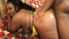 Curvaceous caramel hottie fucks that big black pole every way she can