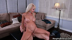 Nasty blonde chick Erica Lauren takes his young dick in her mature snatch