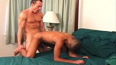 Lustful white stud fucks his sexy ebony boyfriend's lovely ass deep