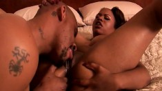 Bodacious Kandi Kream seduces a black stud and has him banging her ass