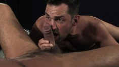 Two passionate gay friends provide to each other magnificent blowjobs