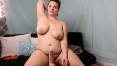 Big boobs Kyra Queen playing with boobs toy