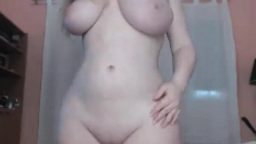 Gorgeous busty blonde slut shows her boobs at work