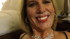 Hot amateur blonde sucks dick and takes a big POV facial