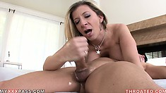 The busty milf sucks that dick like only she knows how and enjoys every moment of it