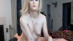 Hot Blonde Shemale Giving Back Massage