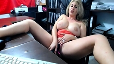 Busty blonde milf kirsty toying in solo