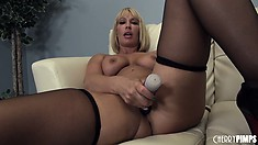 Mellanie Monroe, a blonde milf with huge tits and a big round ass, loves to masturbate