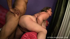 The horny lady bounces on his big prick before taking it deep in her peach from behind