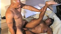 The stacked ebony nurse Brown Sugar lies on the hospital bed and gets pounded hard