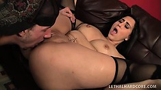 Curvy brunette Valerie Kay rides her man's long cock until it cums in her snatch