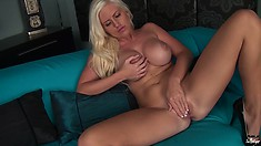 Busty Blonde Babe Chloe Gets Naked To Stick Fingers In Her Bald Cunt