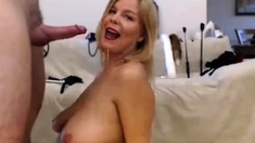 Mature woman getting her nipples sucked sucking cock on the