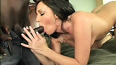 Brunette gets boned by a big black cock and sucks out his juices