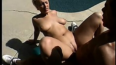 Sexy blonde college babe with big tits gets fucked in both holes by a black cock