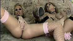 Beautiful lesbians Ginger and Dorothy lick and finger each other's wet peaches