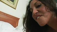Petite brunette with tiny tits Adriana Deville can't resist a big cock