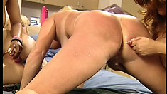 These tasty lesbian bitches in a four girl orgy have wild and pleasing sex
