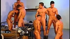 A pack of inexperienced soldier boys get into an intense gay orgy