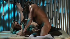 Naughty blonde nurse Harmony gets fucked deep in the ass by a patient