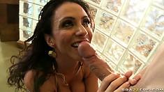 Hot Latina MILF Ariella takes his stiff boner up her oily ass
