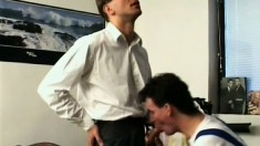 Handsome gay stud sucks a big cock and gets his butt fucked bareback